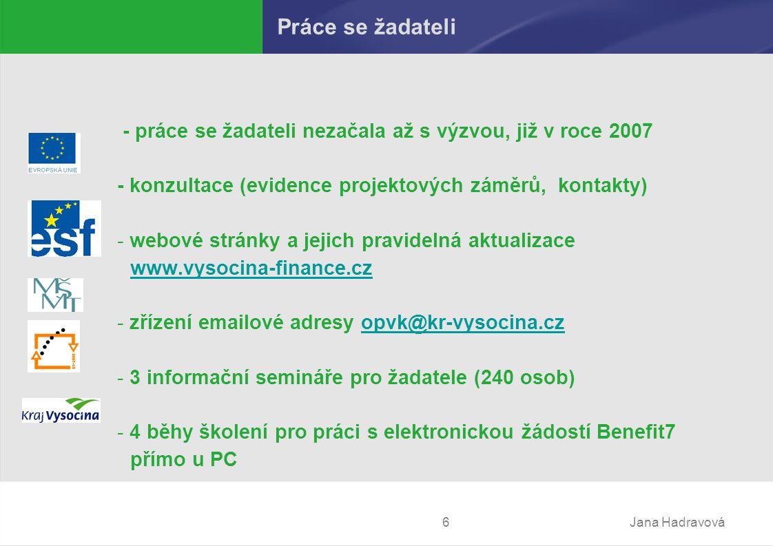 Jana Hadravová6 Práce se žadateli - práce se žadateli nezačala až s výzvou, již v roce 2007 - konzultace (evidence projektových záměrů, kontakty) - webové stránky a jejich pravidelná aktualizace www.vysocina-finance.cz www.vysocina-finance.cz - zřízení emailové adresy opvk@kr-vysocina.czopvk@kr-vysocina.cz - 3 informační semináře pro žadatele (240 osob) - 4 běhy školení pro práci s elektronickou žádostí Benefit7 přímo u PC