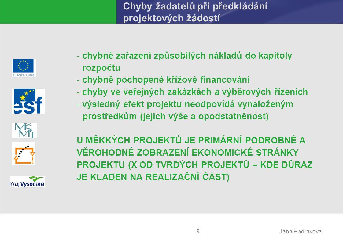 Jana Hadravová9 Chyby žadatelů při předkládání projektových žádostí - chybné zařazení způsobilých nákladů dokapitoly rozpočtu - chybně pochopené křížové financování - chyby ve veřejných zakázkách a výběrových řízeních - výsledný efekt projektu neodpovídá vynaloženým prostředkům (jejich výše a opodstatněnost) U MĚKKÝCH PROJEKTŮ JE PRIMÁRNÍ PODROBNÉ A VĚROHODNÉ ZOBRAZENÍ EKONOMICKÉ STRÁNKY PROJEKTU (X OD TVRDÝCH PROJEKTŮ – KDE DŮRAZ JE KLADEN NA REALIZAČNÍ ČÁST)