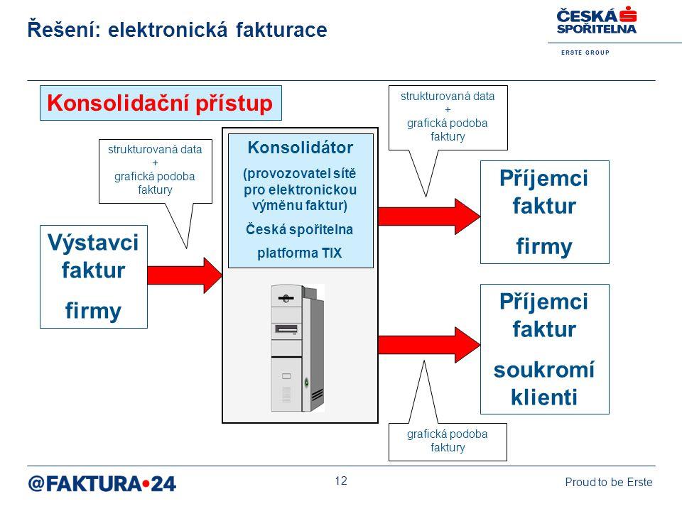 E R S T E G R O U P Proud to be Erste 12 Řešení: elektronická fakturace Konsolidátor (provozovatel sítě pro elektronickou výměnu faktur) Česká spořite