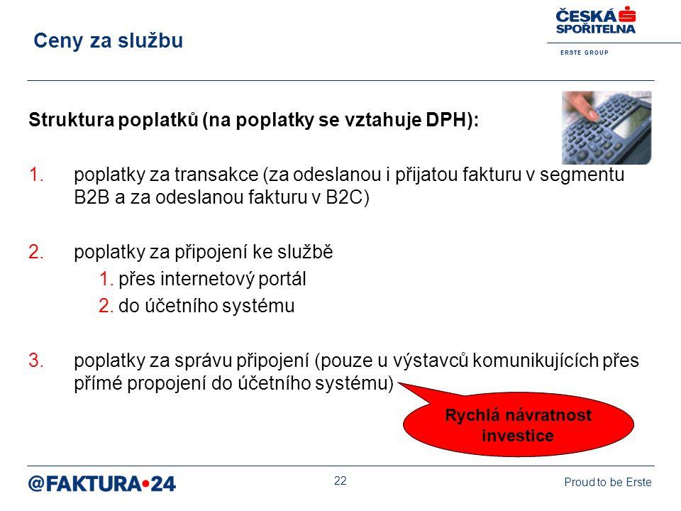 E R S T E G R O U P Proud to be Erste 22 Struktura poplatků (na poplatky se vztahuje DPH): 1.poplatky za transakce (za odeslanou i přijatou fakturu v