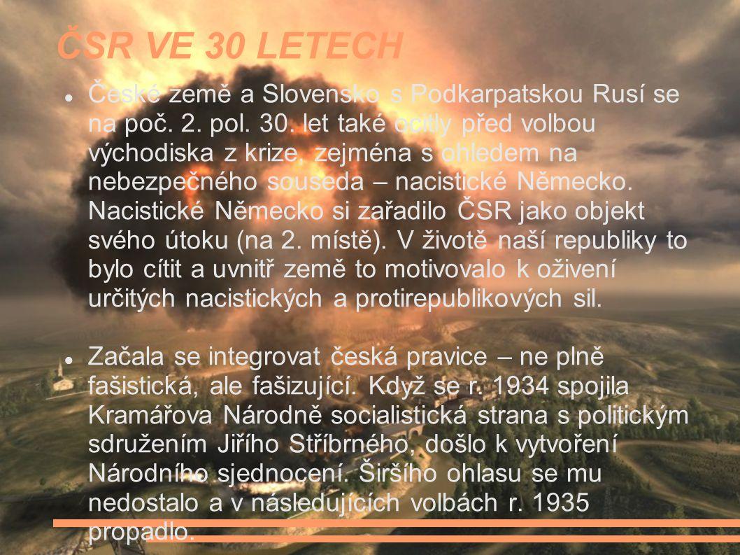 ČSR VE 30 LETECH České země a Slovensko s Podkarpatskou Rusí se na poč.