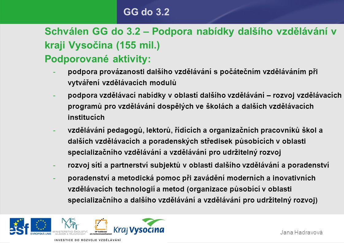 Jana Hadravová GG do 3.2 Schválen GG do 3.2 – Podpora nabídky dalšího vzdělávání v kraji Vysočina (155 mil.) Podporované aktivity: -podpora provázanosti dalšího vzdělávání s počátečním vzděláváním při vytváření vzdělávacích modulů -podpora vzdělávací nabídky v oblastí dalšího vzdělávání – rozvoj vzdělávacích programů pro vzdělávání dospělých ve školách a dalších vzdělávacích institucích -vzdělávání pedagogů, lektorů, řídících a organizačních pracovníků škol a dalších vzdělávacích a poradenských středisek působících v oblasti specializačního vzdělávání a vzdělávání pro udržitelný rozvoj -rozvoj sítí a partnerství subjektů v oblasti dalšího vzdělávání a poradenství -poradenství a metodická pomoc při zavádění moderních a inovativních vzdělávacích technologií a metod (organizace působící v oblasti specializačního a dalšího vzdělávání a vzdělávání pro udržitelný rozvoj)