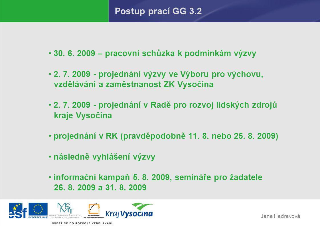 Jana Hadravová Postup prací GG 3.2 30.6. 2009 – pracovní schůzka k podmínkám výzvy 2.