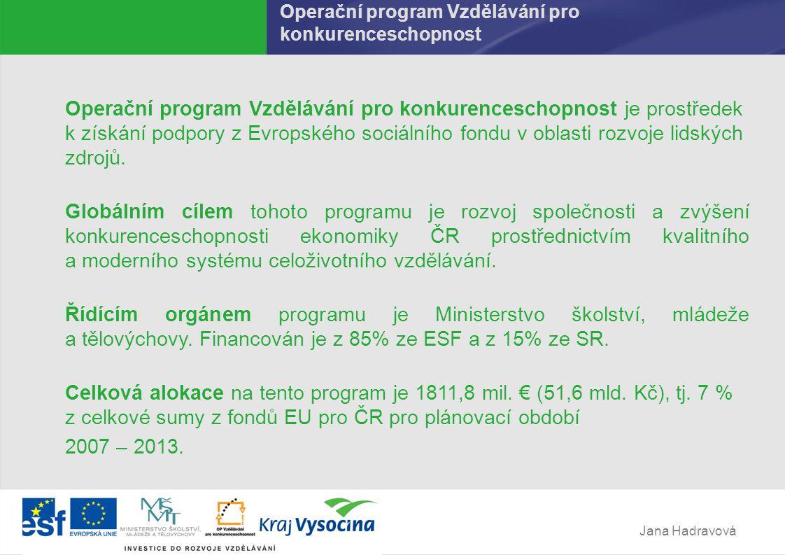 Jana Hadravová Operační program Vzdělávání pro konkurenceschopnost Operační program Vzdělávání pro konkurenceschopnost je prostředek k získání podpory z Evropského sociálního fondu v oblasti rozvoje lidských zdrojů.