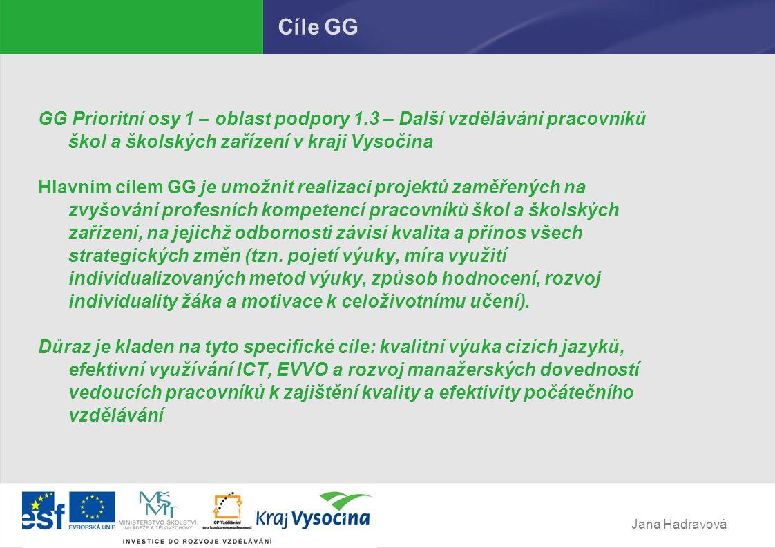 Jana Hadravová Cíle GG GG Prioritní osy 1 – oblast podpory 1.3 – Další vzdělávání pracovníků škol a školských zařízení v kraji Vysočina Hlavním cílem GG je umožnit realizaci projektů zaměřených na zvyšování profesních kompetencí pracovníků škol a školských zařízení, na jejichž odbornosti závisí kvalita a přínos všech strategických změn (tzn.