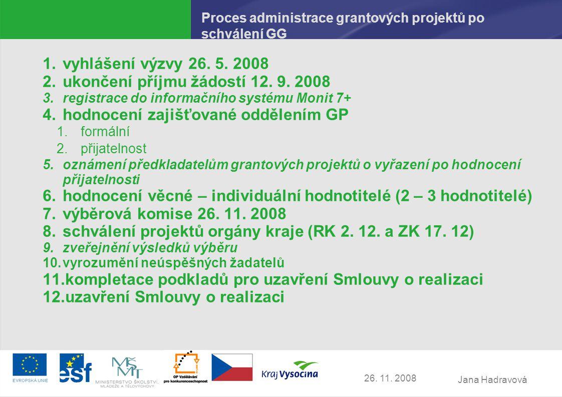 Jana Hadravová 26. 11. 2008 Proces administrace grantových projektů po schválení GG 1.vyhlášení výzvy 26. 5. 2008 2.ukončení příjmu žádostí 12. 9. 200