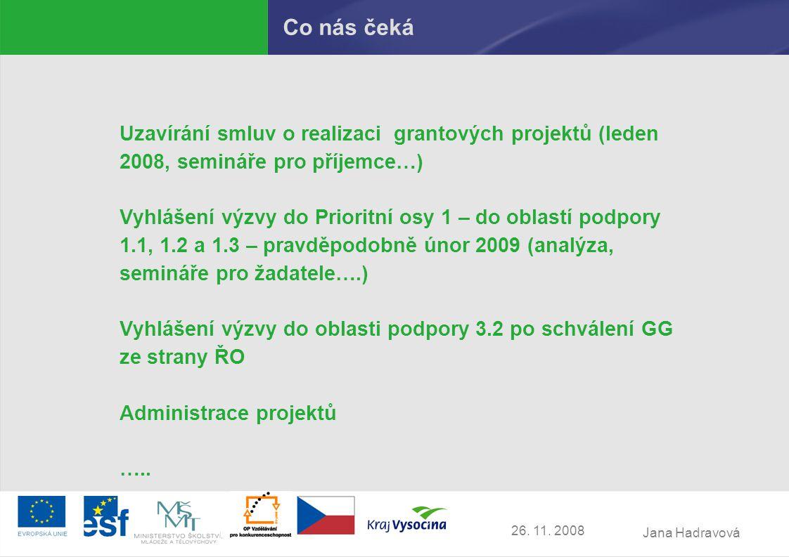 Jana Hadravová 26. 11. 2008 Co nás čeká Uzavírání smluv o realizaci grantových projektů (leden 2008, semináře pro příjemce…) Vyhlášení výzvy do Priori