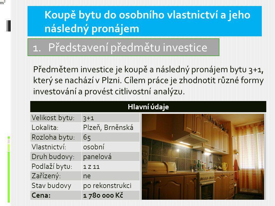 Předmětem investice je koupě a následný pronájem bytu 3+1, který se nachází v Plzni.