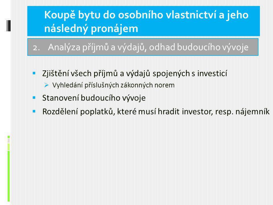  Zjištění všech příjmů a výdajů spojených s investicí  Vyhledání příslušných zákonných norem  Stanovení budoucího vývoje  Rozdělení poplatků, které musí hradit investor, resp.