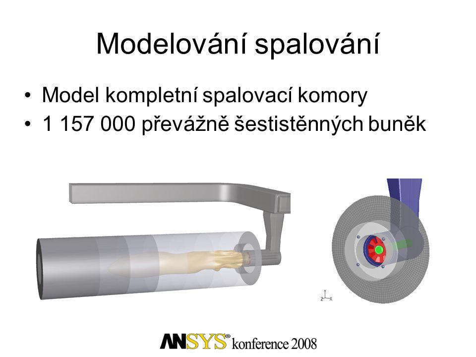 Modelování spalování Model kompletní spalovací komory 1 157 000 převážně šestistěnných buněk