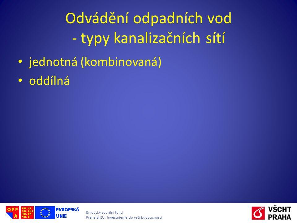 Evropský sociální fond Praha & EU: Investujeme do vaší budoucnosti Odvádění odpadních vod - typy kanalizačních sítí jednotná (kombinovaná) oddílná