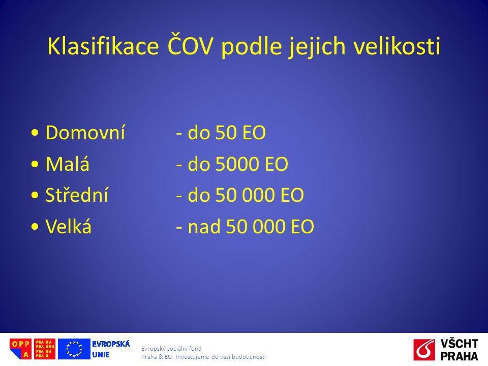 Evropský sociální fond Praha & EU: Investujeme do vaší budoucnosti Klasifikace ČOV podle jejich velikosti Domovní - do 50 EO Malá- do 5000 EO Střední - do 50 000 EO Velká - nad 50 000 EO