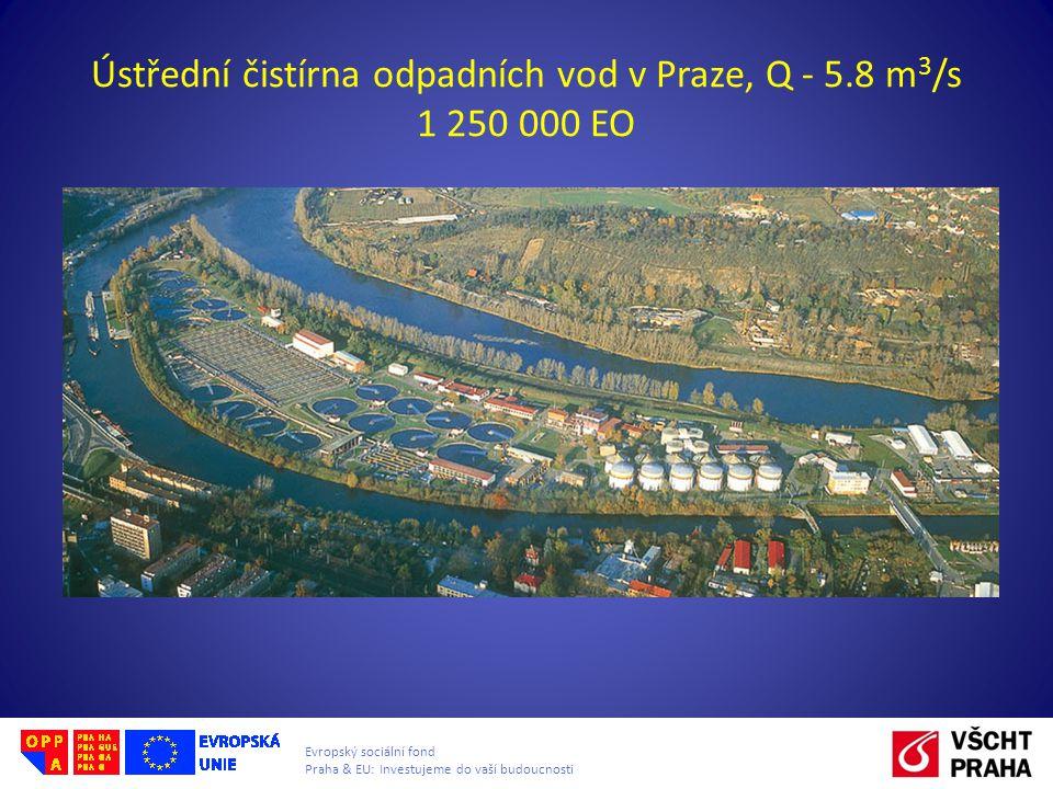 Evropský sociální fond Praha & EU: Investujeme do vaší budoucnosti Ústřední čistírna odpadních vod v Praze, Q - 5.8 m 3 /s 1 250 000 EO