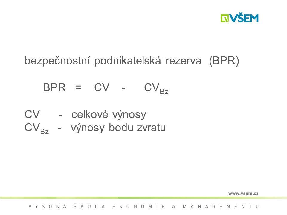 bezpečnostní podnikatelská rezerva (BPR) BPR = CV - CV Bz CV - celkové výnosy CV Bz - výnosy bodu zvratu