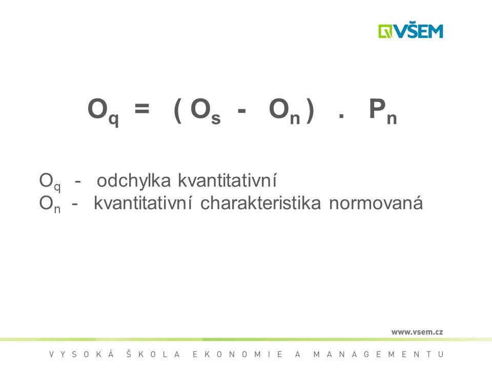 O q = ( O s - O n ). P n O q - odchylka kvantitativní O n - kvantitativní charakteristika normovaná