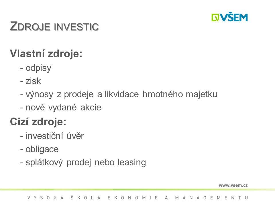 Z DROJE INVESTIC Vlastní zdroje: - odpisy - zisk - výnosy z prodeje a likvidace hmotného majetku - nově vydané akcie Cizí zdroje: - investiční úvěr - obligace - splátkový prodej nebo leasing