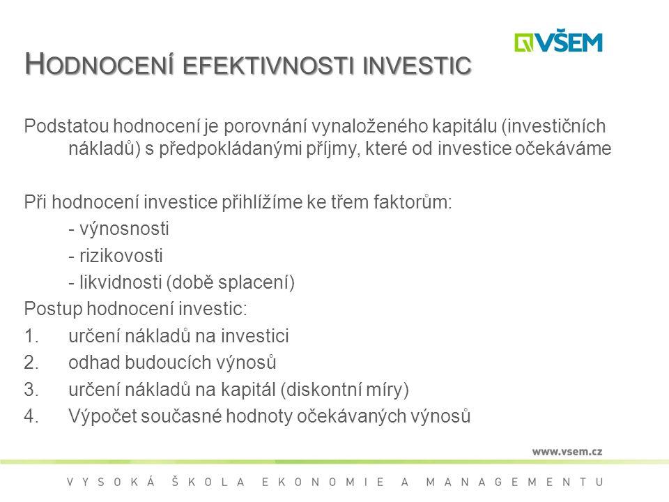 H ODNOCENÍ EFEKTIVNOSTI INVESTIC Podstatou hodnocení je porovnání vynaloženého kapitálu (investičních nákladů) s předpokládanými příjmy, které od investice očekáváme Při hodnocení investice přihlížíme ke třem faktorům: - výnosnosti - rizikovosti - likvidnosti (době splacení) Postup hodnocení investic:  určení nákladů na investici  odhad budoucích výnosů  určení nákladů na kapitál (diskontní míry)  Výpočet současné hodnoty očekávaných výnosů