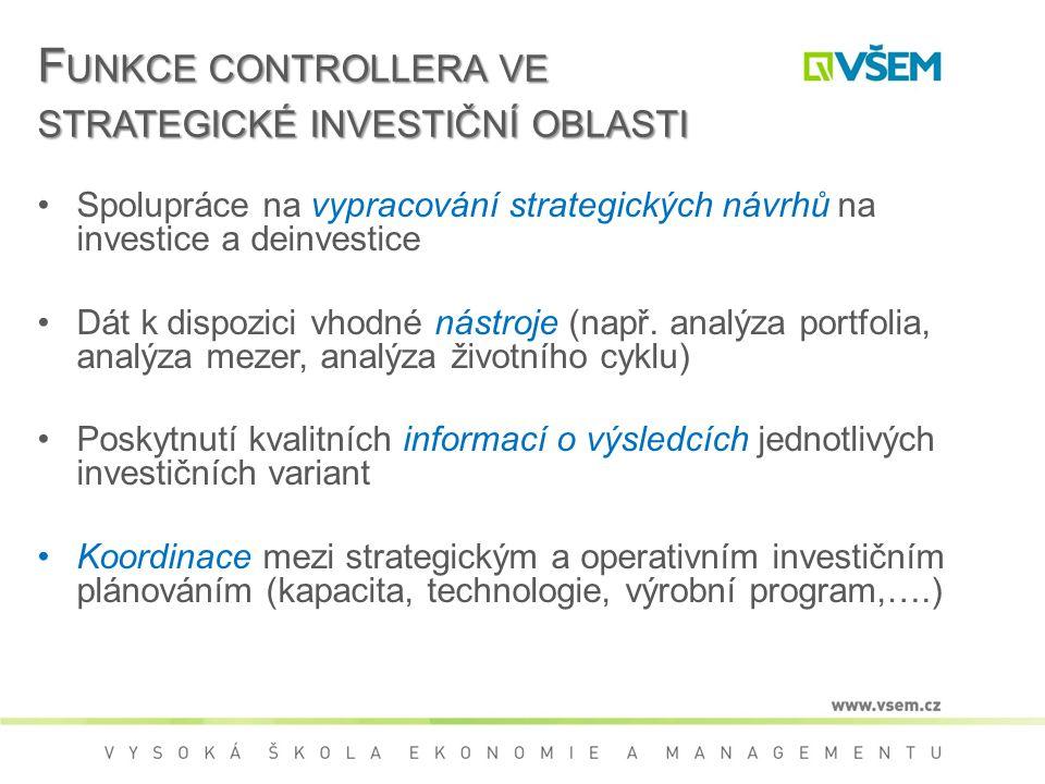 F UNKCE CONTROLLERA VE STRATEGICKÉ INVESTIČNÍ OBLASTI Spolupráce na vypracování strategických návrhů na investice a deinvestice Dát k dispozici vhodné nástroje (např.