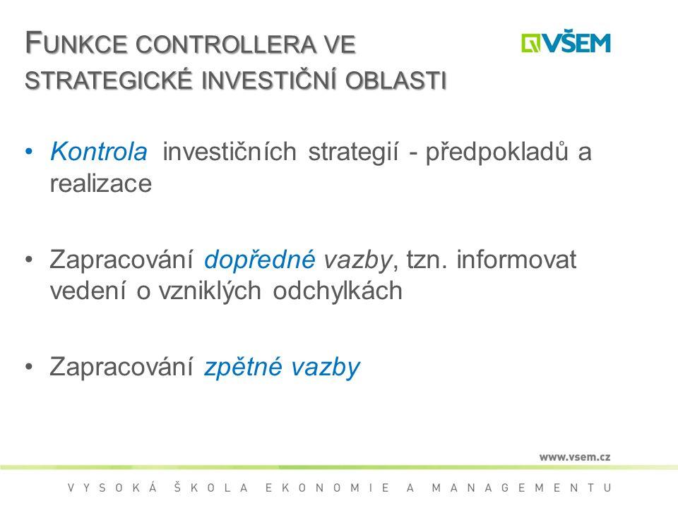 F UNKCE CONTROLLERA VE STRATEGICKÉ INVESTIČNÍ OBLASTI Kontrola investičních strategií - předpokladů a realizace Zapracování dopředné vazby, tzn.