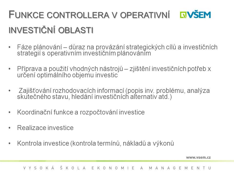 F UNKCE CONTROLLERA V OPERATIVNÍ INVESTIČNÍ OBLASTI Fáze plánování – důraz na provázání strategických cílů a investičních strategií s operativním investičním plánováním Příprava a použití vhodných nástrojů – zjištění investičních potřeb x určení optimálního objemu investic Zajišťování rozhodovacích informací (popis inv.