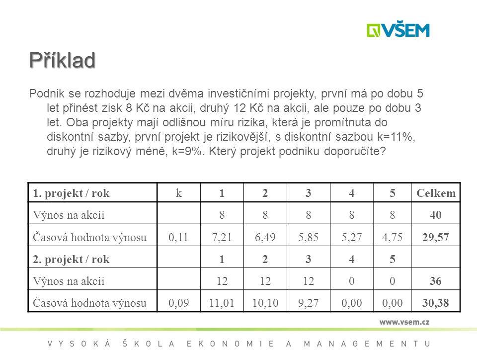 Příklad Podnik se rozhoduje mezi dvěma investičními projekty, první má po dobu 5 let přinést zisk 8 Kč na akcii, druhý 12 Kč na akcii, ale pouze po dobu 3 let.