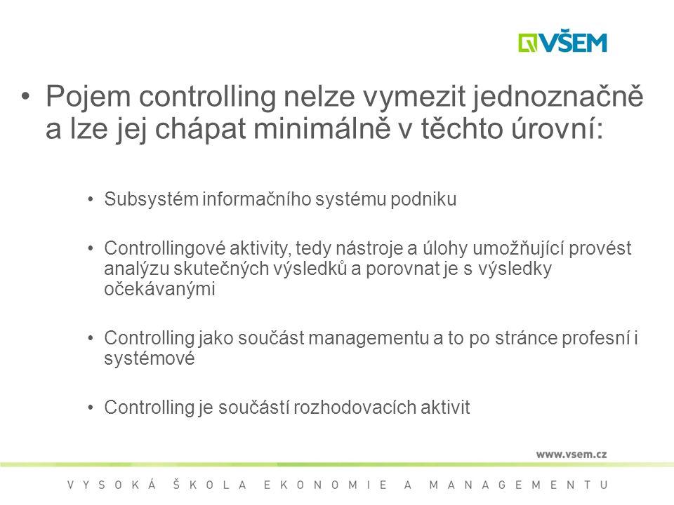 Pojem controlling nelze vymezit jednoznačně a lze jej chápat minimálně v těchto úrovní: Subsystém informačního systému podniku Controllingové aktivity, tedy nástroje a úlohy umožňující provést analýzu skutečných výsledků a porovnat je s výsledky očekávanými Controlling jako součást managementu a to po stránce profesní i systémové Controlling je součástí rozhodovacích aktivit