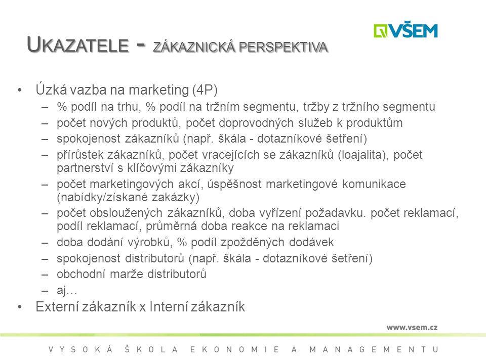 U KAZATELE - ZÁKAZNICKÁ PERSPEKTIVA Úzká vazba na marketing (4P) –% podíl na trhu, % podíl na tržním segmentu, tržby z tržního segmentu –počet nových produktů, počet doprovodných služeb k produktům –spokojenost zákazníků (např.