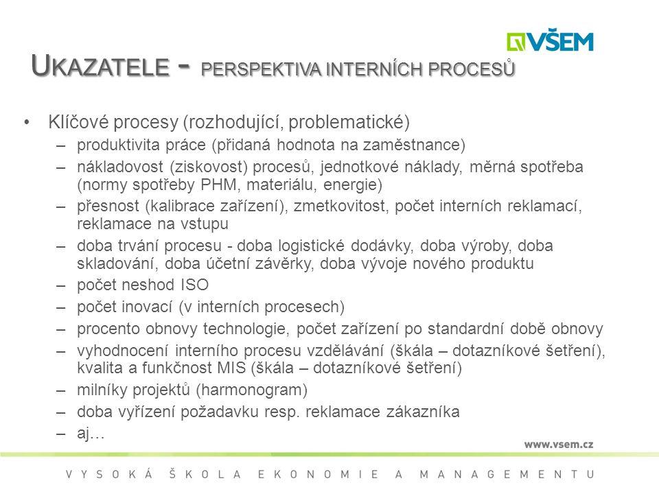 U KAZATELE - PERSPEKTIVA INTERNÍCH PROCESŮ Klíčové procesy (rozhodující, problematické) –produktivita práce (přidaná hodnota na zaměstnance) –nákladovost (ziskovost) procesů, jednotkové náklady, měrná spotřeba (normy spotřeby PHM, materiálu, energie) –přesnost (kalibrace zařízení), zmetkovitost, počet interních reklamací, reklamace na vstupu –doba trvání procesu - doba logistické dodávky, doba výroby, doba skladování, doba účetní závěrky, doba vývoje nového produktu –počet neshod ISO –počet inovací (v interních procesech) –procento obnovy technologie, počet zařízení po standardní době obnovy –vyhodnocení interního procesu vzdělávání (škála – dotazníkové šetření), kvalita a funkčnost MIS (škála – dotazníkové šetření) –milníky projektů (harmonogram) –doba vyřízení požadavku resp.