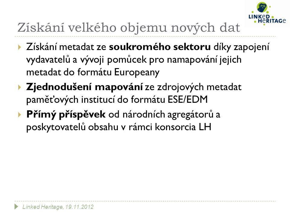 Získání velkého objemu nových dat  Získání metadat ze soukromého sektoru díky zapojení vydavatelů a vývoji pomůcek pro namapování jejich metadat do formátu Europeany  Zjednodušení mapování ze zdrojových metadat paměťových institucí do formátu ESE/EDM  Přímý příspěvek od národních agregátorů a poskytovatelů obsahu v rámci konsorcia LH Linked Heritage, 19.11.2012