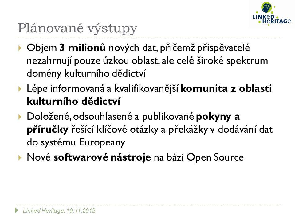 Plánované výstupy  Objem 3 milionů nových dat, přičemž přispěvatelé nezahrnují pouze úzkou oblast, ale celé široké spektrum domény kulturního dědictví  Lépe informovaná a kvalifikovanější komunita z oblasti kulturního dědictví  Doložené, odsouhlasené a publikované pokyny a příručky řešící klíčové otázky a překážky v dodávání dat do systému Europeany  Nové softwarové nástroje na bázi Open Source Linked Heritage, 19.11.2012