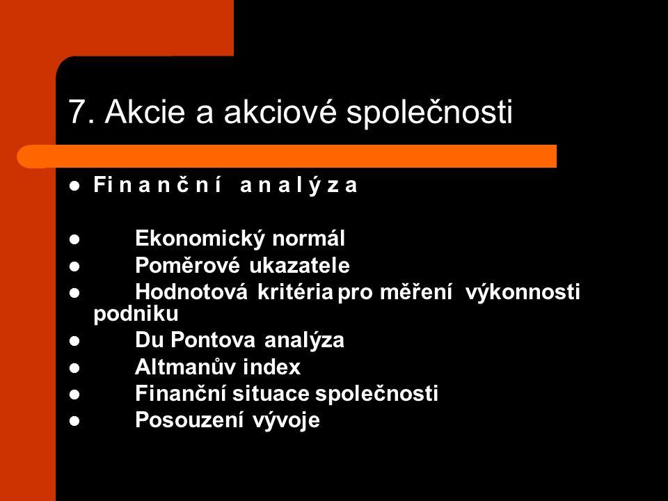 7. Akcie a akciové společnosti Fi n a n č n í a n a l ý z a Ekonomický normál Poměrové ukazatele Hodnotová kritéria pro měření výkonnosti podniku Du P