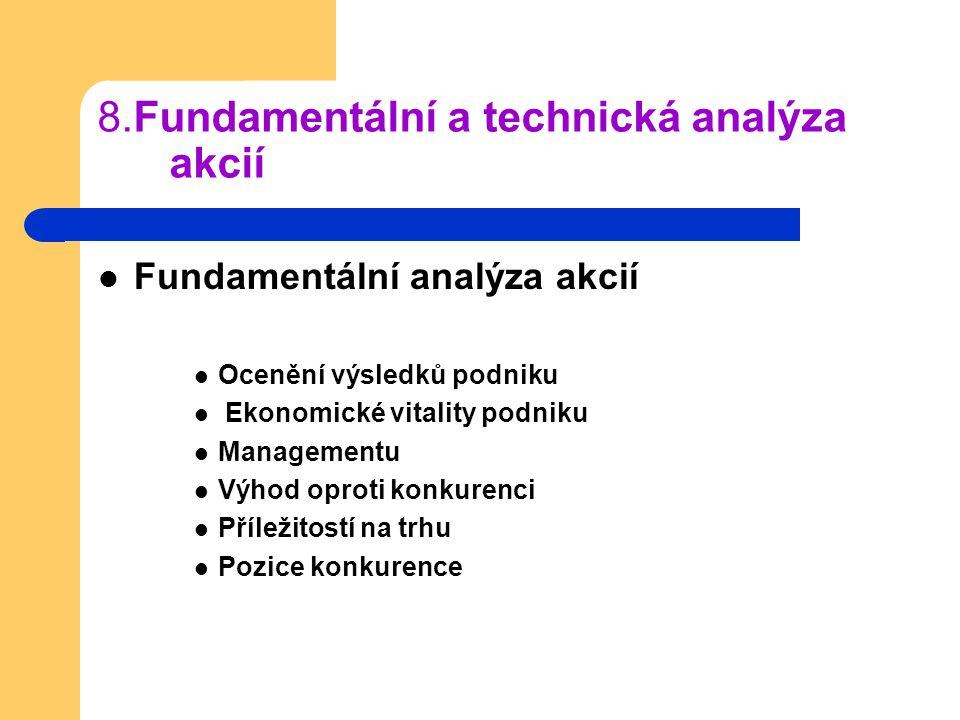 8.Fundamentální a technická analýza akcií Fundamentální analýza akcií Ocenění výsledků podniku Ekonomické vitality podniku Managementu Výhod oproti ko