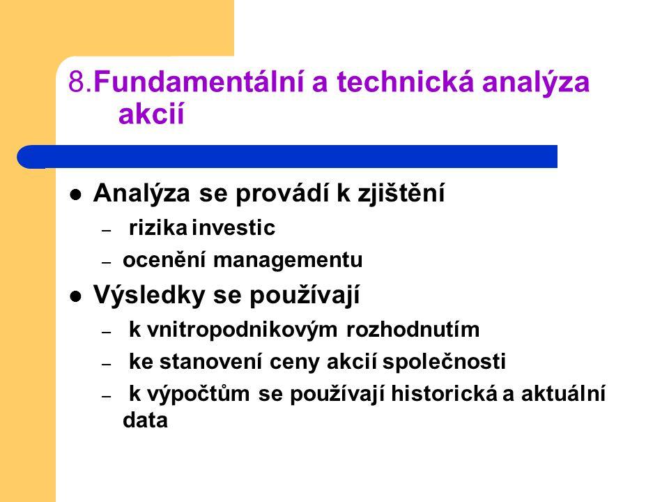 8.Fundamentální a technická analýza akcií Analýza se provádí k zjištění – rizika investic – ocenění managementu Výsledky se používají – k vnitropodnik