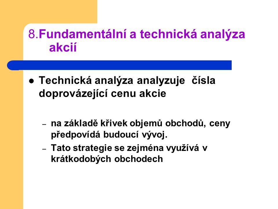 8.Fundamentální a technická analýza akcií Technická analýza analyzuje čísla doprovázející cenu akcie – na základě křivek objemů obchodů, ceny předpoví