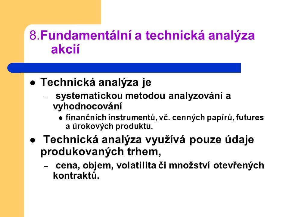 8.Fundamentální a technická analýza akcií Technická analýza je – systematickou metodou analyzování a vyhodnocování finančních instrumentů, vč. cenných