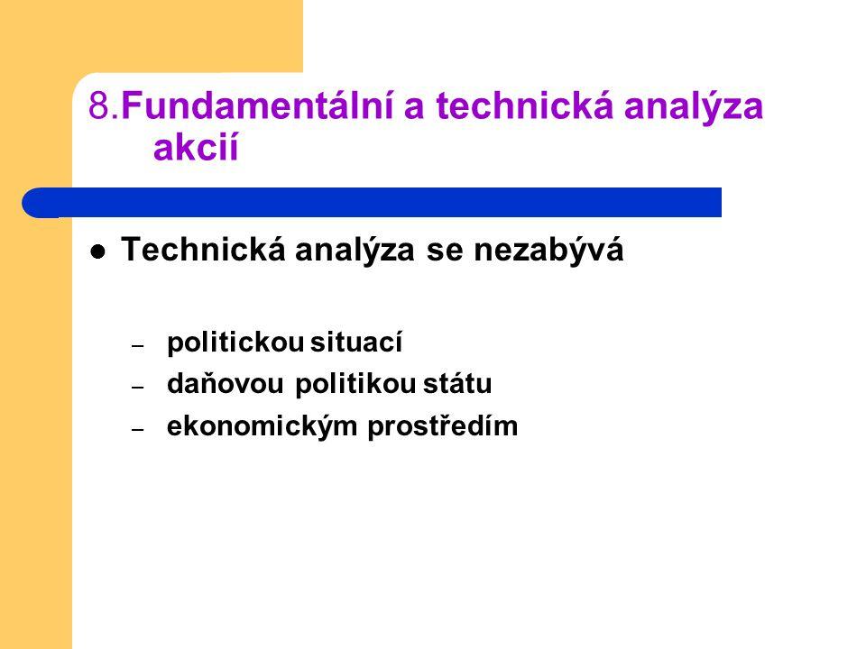 8.Fundamentální a technická analýza akcií Technická analýza se nezabývá – politickou situací – daňovou politikou státu – ekonomickým prostředím