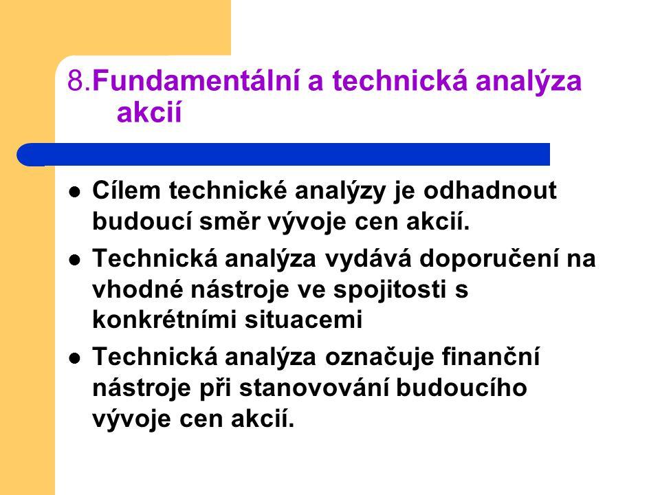 8.Fundamentální a technická analýza akcií Cílem technické analýzy je odhadnout budoucí směr vývoje cen akcií. Technická analýza vydává doporučení na v