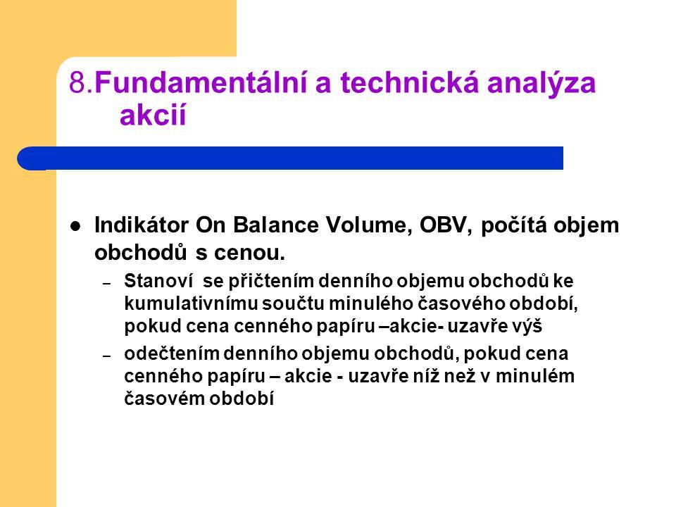 8.Fundamentální a technická analýza akcií Indikátor On Balance Volume, OBV, počítá objem obchodů s cenou. – Stanoví se přičtením denního objemu obchod