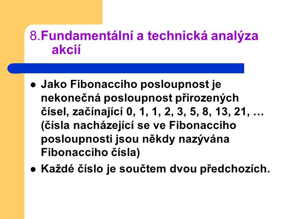 8.Fundamentální a technická analýza akcií Jako Fibonacciho posloupnost je nekonečná posloupnost přirozených čísel, začínající 0, 1, 1, 2, 3, 5, 8, 13,