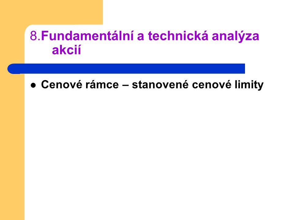 8.Fundamentální a technická analýza akcií Cenové rámce – stanovené cenové limity