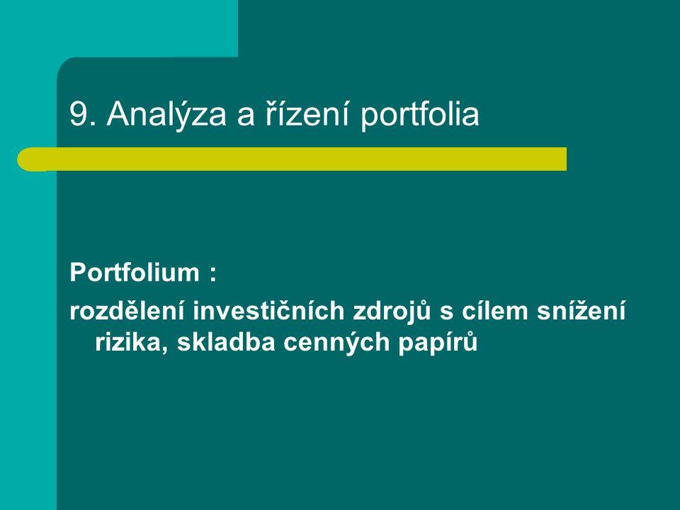 9. Analýza a řízení portfolia Portfolium : rozdělení investičních zdrojů s cílem snížení rizika, skladba cenných papírů