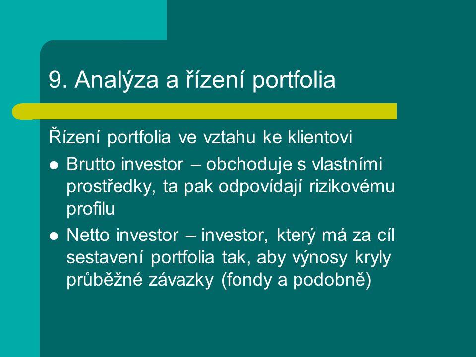 9. Analýza a řízení portfolia Řízení portfolia ve vztahu ke klientovi Brutto investor – obchoduje s vlastními prostředky, ta pak odpovídají rizikovému