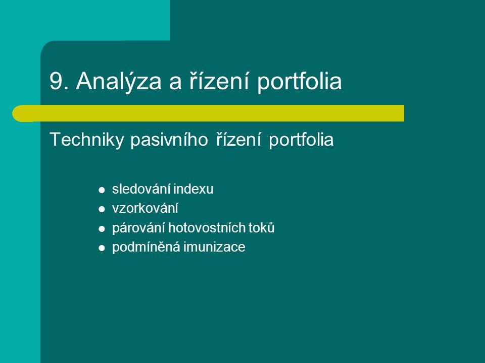 9. Analýza a řízení portfolia Techniky pasivního řízení portfolia sledování indexu vzorkování párování hotovostních toků podmíněná imunizace