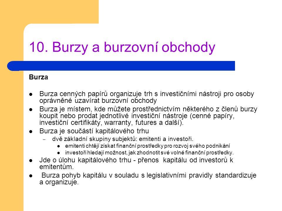 10. Burzy a burzovní obchody Burza Burza cenných papírů organizuje trh s investičními nástroji pro osoby oprávněné uzavírat burzovní obchody Burza je