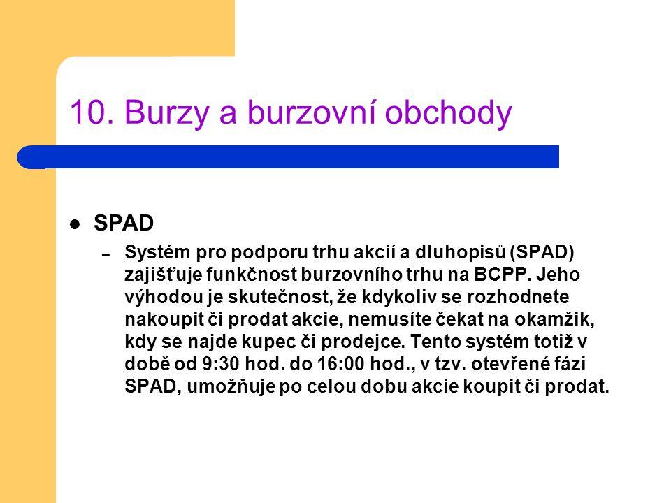 10. Burzy a burzovní obchody SPAD – Systém pro podporu trhu akcií a dluhopisů (SPAD) zajišťuje funkčnost burzovního trhu na BCPP. Jeho výhodou je skut