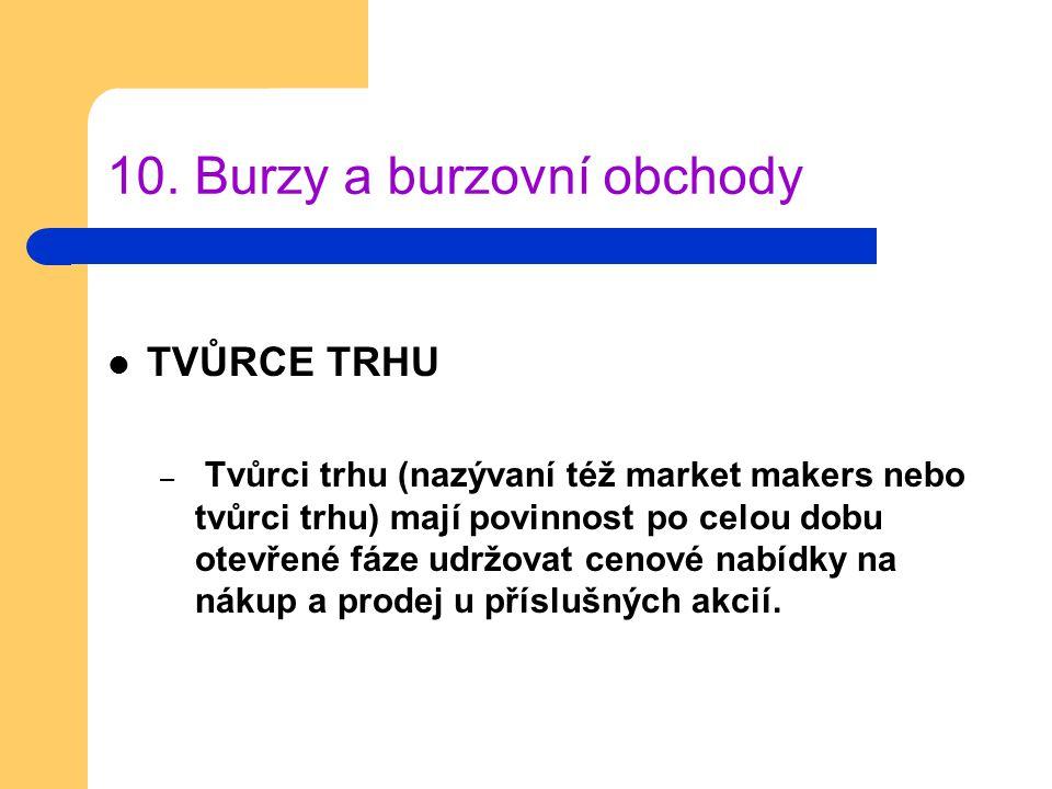 10. Burzy a burzovní obchody TVŮRCE TRHU – Tvůrci trhu (nazývaní též market makers nebo tvůrci trhu) mají povinnost po celou dobu otevřené fáze udržov