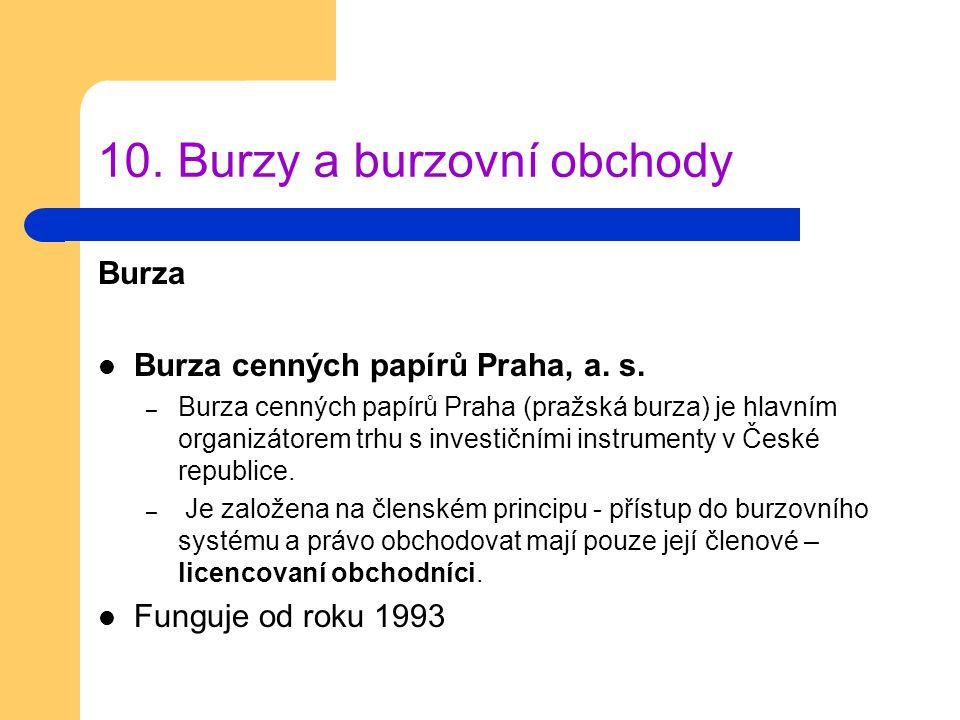 10. Burzy a burzovní obchody Burza Burza cenných papírů Praha, a. s. – Burza cenných papírů Praha (pražská burza) je hlavním organizátorem trhu s inve