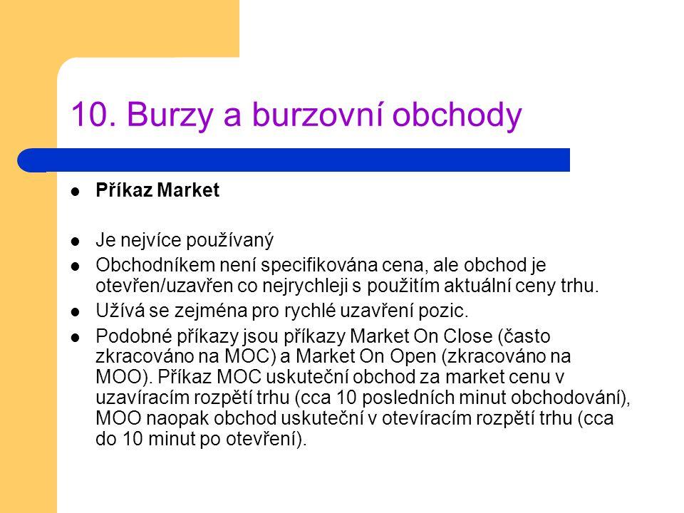 10. Burzy a burzovní obchody Příkaz Market Je nejvíce používaný Obchodníkem není specifikována cena, ale obchod je otevřen/uzavřen co nejrychleji s po
