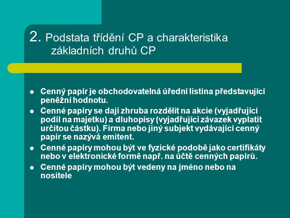 2. Podstata třídění CP a charakteristika základních druhů CP Cenný papír je obchodovatelná úřední listina představující peněžní hodnotu. Cenné papíry