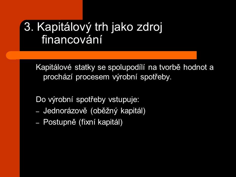 3. Kapitálový trh jako zdroj financování Kapitálové statky se spolupodílí na tvorbě hodnot a prochází procesem výrobní spotřeby. Do výrobní spotřeby v
